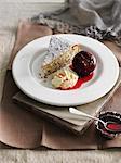 Plate of hazelnut cake with cream