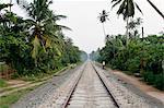 Train tracks on gravel road