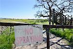 No spraying sign at organic farm