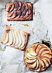 Baked fruit tarts in wax paper
