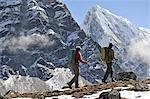 Trekkers hiking along a ridge, Gokyo, Nepal