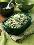 Primavera risotto, peas and beans
