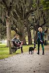 Man on park bench, woman walking dog, Savannah, Georgia, USA