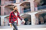 Man with beard walking