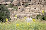 Woman enjoying fresh air in park, Stoney Point, Topanga Canyon, Chatsworth, Los Angeles, California, USA