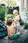 Boys on garden path eating oranges, Bludenz, Vorarlberg, Austria