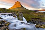 Kirkjufell Mountain and Kirkjufoss Waterfall at sunset, Snaefellsnes Peninsula, Iceland, Polar Regions