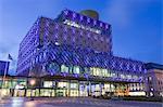 The Library of Birmingham, illuminated at night, Centenary Square, Birmingham, West Midlands, England, United Kingdom, Europe
