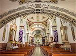 Painted interior of Santo Domingo church in the town of Ocotlan de Morelos, State of Oaxaca, Mexico, North America