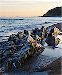 Sunset ocean coast view from beach (near Saint-Jean-de-Luz, France, Bay of Biscay).