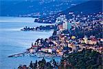 Opatija riviera bay bay and coastline view, Kvarner region of Croatia