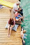 Family fishing on houseboat sun deck, Kraalbaai, South Africa