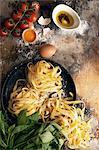 Tagliatelle, tomatoes, herbs and eggs