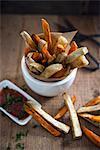Vegan sweet potato fries with ketchup