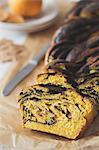 Pumpkin babka cake with chocolate filling.