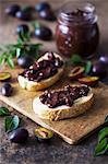 Homemade plum jam on toasts