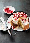 Pomegranate cake, cut into pieces