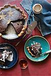 Rum raisin chocolate walnut pie