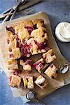 Strawberries almond traybake