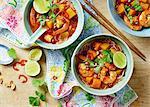 Three servings of Prawn Laksa soup