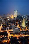 South-East Asia, Malaysia, Kuala Lumpur, the financial center and Petronas towers
