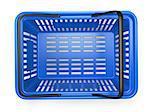 Blue  empty  shopping basket isolated on white background. 3d illustration