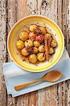 Spicy mirabelle plum fruit salad