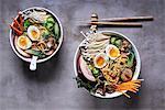 Ramen noodle soup with mushrooms, vegetables, pork belly and egg (Japan)