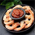 Prawns with a seafood dip