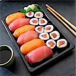 Nigiri and Maki sushi with salmon and tuna (Japan)