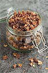 Home-made porridge in a flip-top glass jar