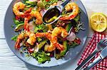 A prawn salad with radish, avocado and chilli