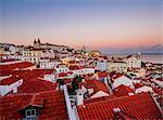Miradouro das Portas do Sol, view over Alfama Neighbourhood at sunset, Lisbon, Portugal, Europe