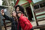 Three friends standing beside cabin, taking selfie, using smartphone