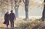 Senior couple holding hands walking in sunny autumn park
