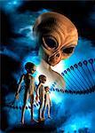 Aliens and DNA (deoxyribonucleic acid) strand, illustration.