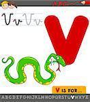 Educational Cartoon Illustration of Letter V from Alphabet with Viper Animal Character for Children