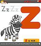 Educational Cartoon Illustration of Letter Z from Alphabet with Zebra Animal Character for Children