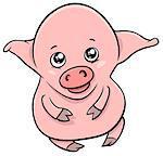 Cartoon Illustration of Cute Piglet or Little Pig Farm Animal Character