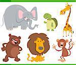 Cartoon Illustration of Cute Wild Animal Characters Set