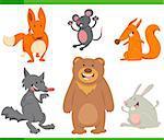 Cartoon Illustration of Funny Animal Characters Set