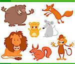 Cartoon Illustration of Cheerful Animal Characters Set