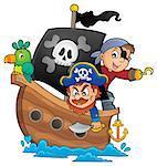 Pirate boat theme 1 - eps10 vector illustration.