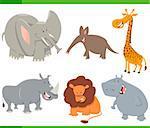 Cartoon Illustration of Cute Safari Animal Characters Set