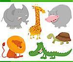 Cartoon Illustration of Funny Safari Animal Characters Set