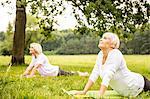 Two women doing yoga in field.