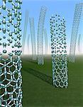 Conceptual image illustrating carbon nanotubes being produced, or grown. Computer artwork.