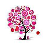 Sewing crafts, art tree. Sketch for your design. Vector illustration