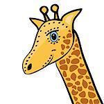 Giraffe cute funny cartoon head. Vector illustration