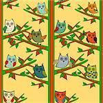 Owl tree branch vertical vector seamless pattern. Animals bird owl Forest nature
